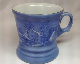 Vintage Currier & Ives The Farmers House Winter Blue Mug Heavy Porcelain Snow House Barn Woods