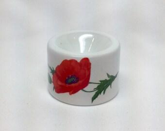 Vintage Funny Design Candle Holder Orange Poppy Flower White Porcelain West Germany Ball Round Candle Holder