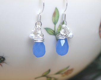 Blue Agate Briolette Wire Wrapped Earrings (Free shipping in Canada!)