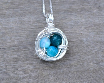Blue Agate Bird's Nest Wire Wrapped Pendant (Free shipping in Canada!)