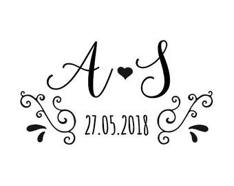 """Custom Initials and Date Stamp, wedding stamp, card stamp, invitation stamp, tag stamp, save the date stamp, 1.8""""x1"""" (cts131)"""