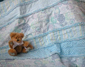 Baby boy blue strip rag quilt