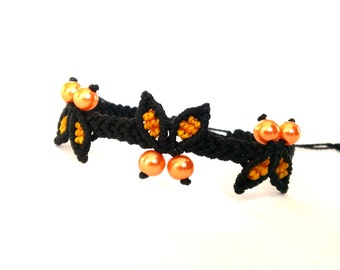Macrame Bracelet with Butterflies, Micromacrame Jewelry