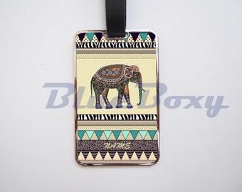 Elephant Aztec Geometric  Luggage Tag, Personalized Luggage Tag