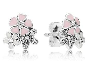 100% 925 Sterling Silver Poetic Blooms Earrings pendientes flores