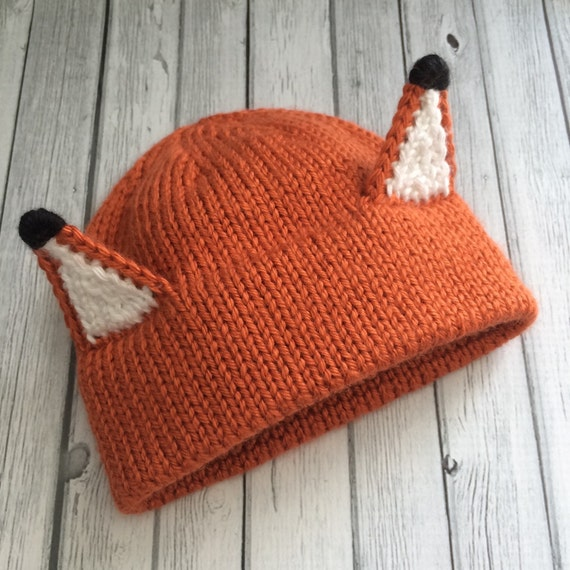 Knitting Pattern For Fox Hat : Fox hat Knit fox hat Crochet fox hat Fox hat with ears