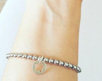 Star and heart bracelet in sterling silver