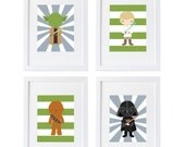star wars wall prints, star wars wall decor, set of 4 high quality prints, kids room, star wars nursery decor, pick your characters