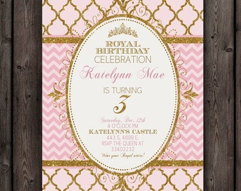 Princess Invitation Pink Gold Customized Wording Free - Free birthday invitation templates pink and gold