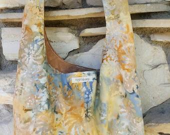 Golden, blue batik across the body hobo bag. Reversible, boho bag, slouch bag, hippie bag.  Batik bag, batik purse. Hobo purse.