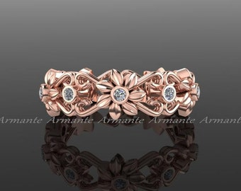 Floral Wedding Ring, 14k Rose Gold Eternity Diamond Band, Wedding Ring,engagement Ring, Right Had Ring. Re00026