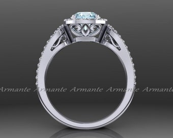 Aquamarine Engagement Ring, Halo 14k White Gold Diamond Filigree Wedding Ring Re00012aq