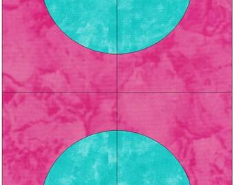 Over the Bridge Drunkard's Path Block Paper Templates Quilting Block Pattern PDF
