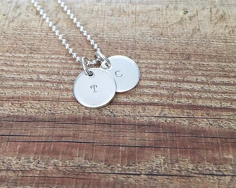 Petit Sterling Silver Initial disc necklace | Initials personalised | Custom Hand Stamped