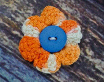 Hair Accessory - Flower Clip - Orange and Blue