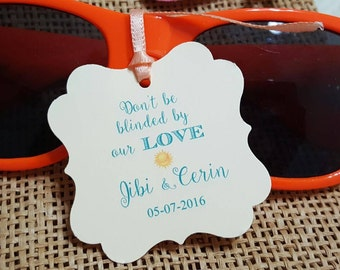 Personalized Beach Favor Tags 2x2'', Wedding tags, Thank You tags, Favor tags, Gift tags, don't be blinded by our love