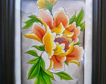 Japanese Peony Watercolor Painting