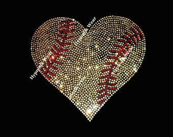 "Rhinestone Transfer "" Gold Softball Heart "" Hotfix , Iron On, Bling"