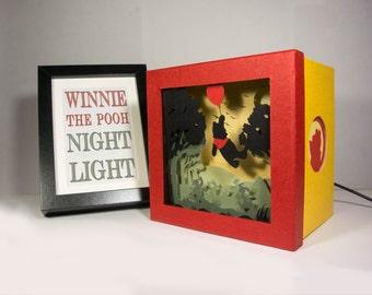 Winnie the Pooh night light, Nursery decor, baby shower, winnie birthday gift, kids room decor, winnie baby room decor, winnie home decor