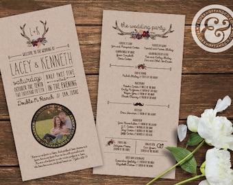 Printable Rustic Country Wedding Programs - Antlers & Flowers