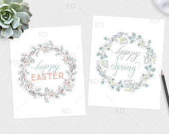Happy Easter and Happy Spring PRINTABLE Wall Art / 2 for price of 1 / Easter Printable / Spring Wall Art / Spring Printable / Easter Print