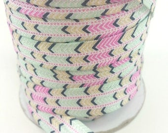 5/8 Aztec pastel green - Fold over elastic -  Elastic by the yard