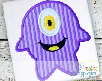 Monster Smiling One Eyed Digital Machine Embroidery Applique Design 4 SIZES, monster applique, monster embroidery, one eyed monster applique