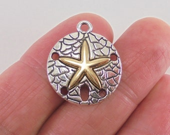 4 pc. Sand Dollar charm, 22x19x3mm, antique silver and bright gold finish