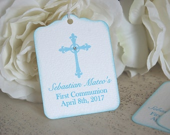 Boy Baptism favor tags, First communion thank you tags, blue christening gift tags, Cross favor tags, Baptism tags, Dedication favor tag
