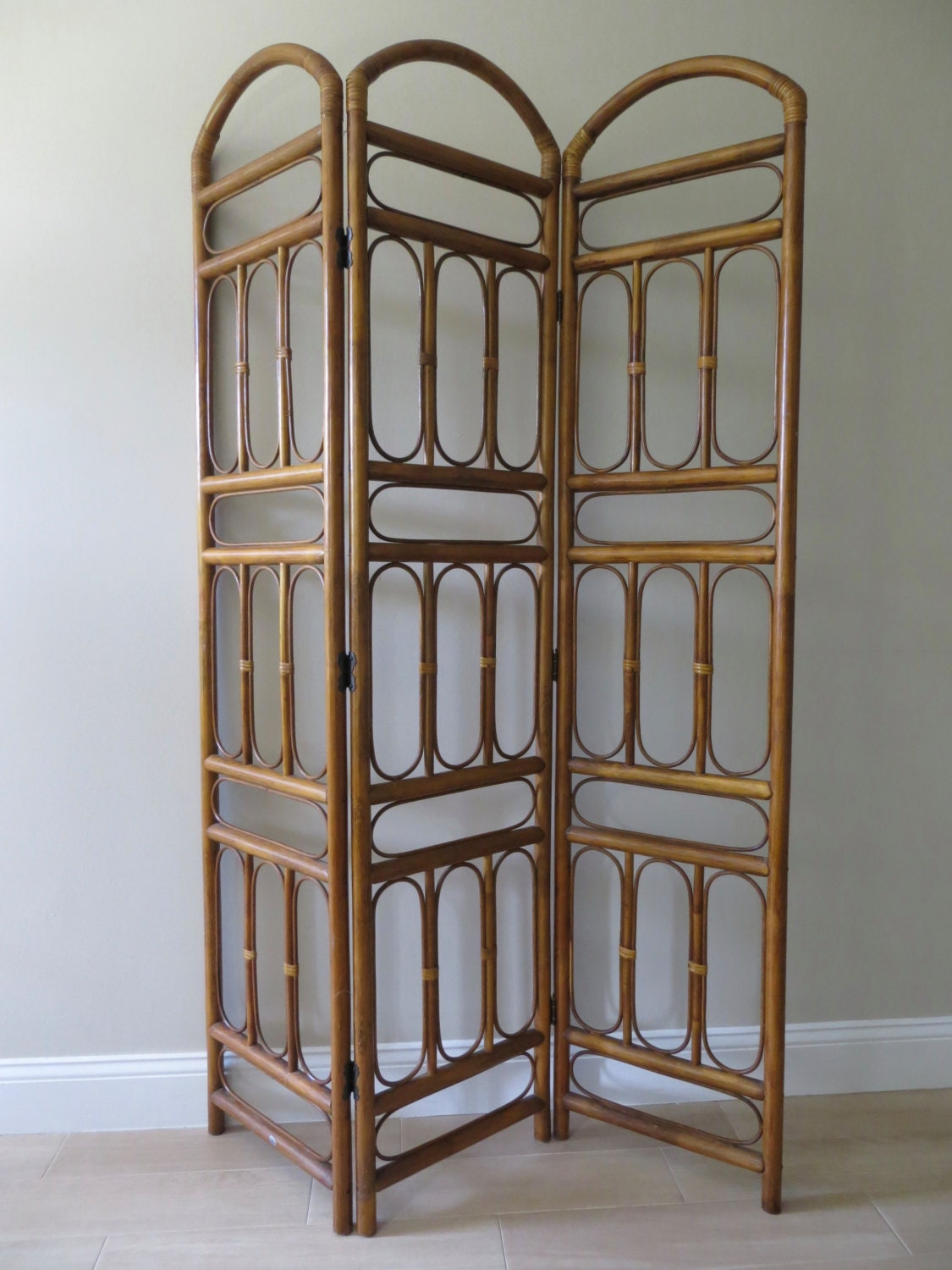 On Sale Vintage Rattan Three Panel Room Divider Bamboo
