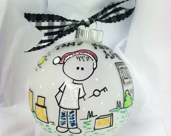 MY First APARTMENT Christmas PERSONALIZED Ornament with Detailed Background, College Student