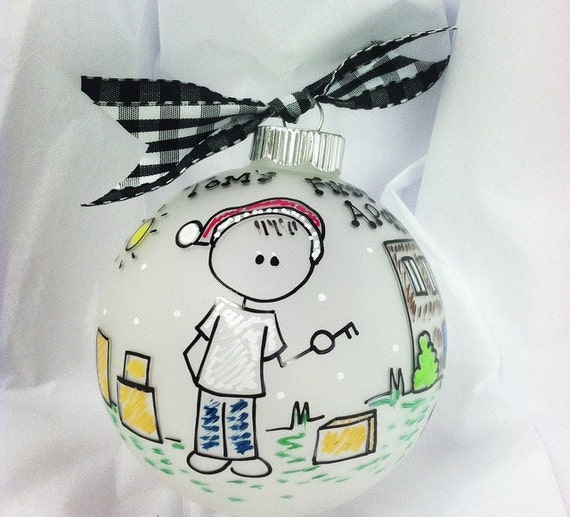 My first apartment christmas personalized ornament with for First apartment ornament