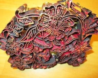 Javanese Copper Handstamping Batik Block for wax method, Tjap stamp (chop) for pattern, metal handle,  Indonesian Fabric Design for textiles