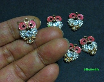 "Lot of 20pcs ""Owl"" Gold Color Plated Enameled Metal Charms. #HY1087."