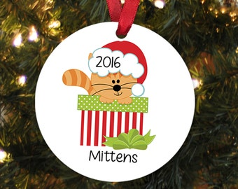 Cat Christmas Ornament - Personalized Christmas Ornament for Cat - Orange Tabby Cat