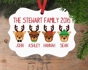 Christmas Ornament Reindeer - Custom Family of 4 Gift Idea