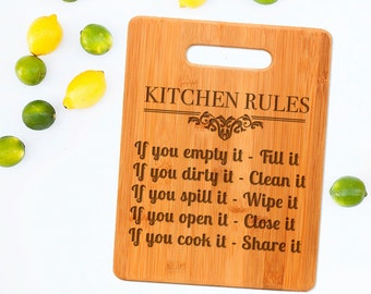 Kitchen Rules Cutting Board - Cute Funny Kitchen Gift - Engraved Cutting Board Kitchen Decor