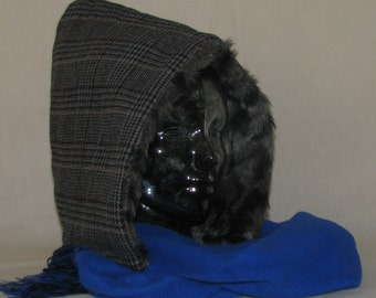 146 - Grey Plaid and Blue Hood+Scarf with FREE SHIPPING