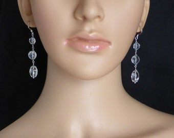 Retro Style Facetted Crystal Quartz Earrings