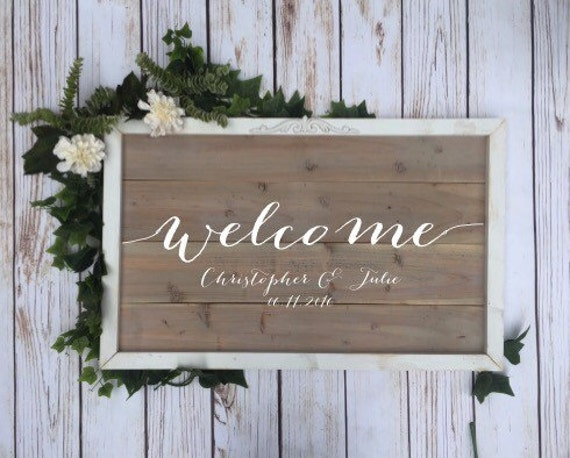Items Similar To Welcome Wedding Sign Vintage Wood Sign On Etsy