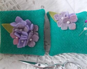 Harris Tweed & Liberty Fabric Needlecase and Pincushion (Needle case, Needle book, Needlebook, Pin cushion)