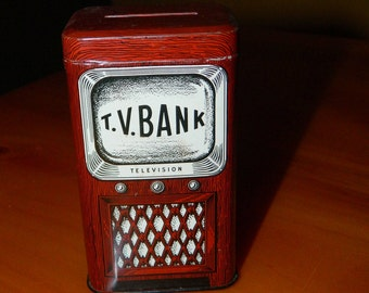 Vintage - 1950's - TIn Litho - Television - TV BANK
