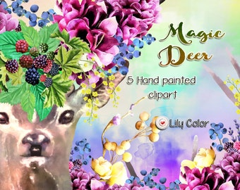 Magic deer cliparts  /  High Quality 300ppi / Big size /Hand painted / PNG.