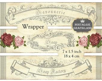 Wrapper Soap Savon Savonnerie Soap Factory Vintage Ornaments Frame Instant Download digital collage sheet E112