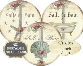 Salle de Bain Bath Bathroom Bathtub Le Bain Seashell Shabby Chic Circles 2 inch Instant Download digital collage sheet C134