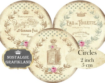 French Perfume Soap Savon Shabby Chic Circles 2 inch Instant Download digital collage sheet C125