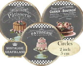 Chalkboard Patisserie Cake Wedding Cakes Circles 2 inch Instant Download digital collage sheet C170