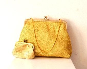 Small Vintage 1960's Gold Handbag with Coin Purse / Gold Vintage Evening Bag with Change Purse / Gold Bridal Bag / 60's Handbag Coin Purse