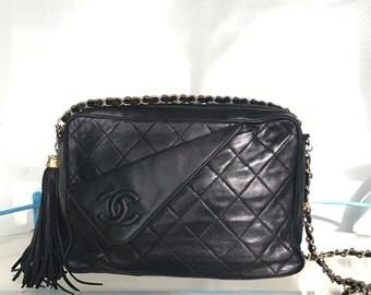 Vintage Authentic Chanel Quilted Fringe Black Leather Bag