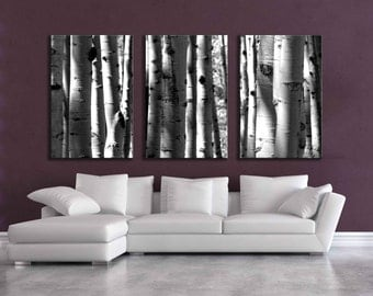 Large Black & White three canvas wall grouping 80 inch aspen tree decor mountain huge living room bedroom dining modern nature home decor
